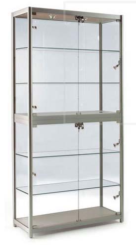 vitrine aluminium et verre 80x40x197 4 tag res. Black Bedroom Furniture Sets. Home Design Ideas